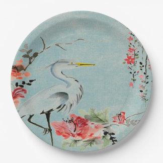 Paper plate   Asian crane flower aqua