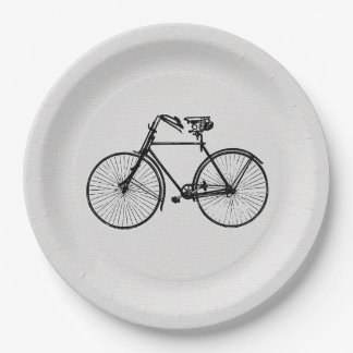 Paper plate   bicycle bike black white 9 inch paper plate