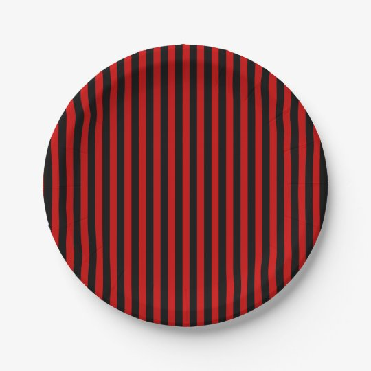 Paper plate black and red stripes 7 inch paper plate