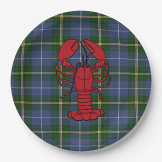 Paper plate   blue Nova Scotia Tartan lobster