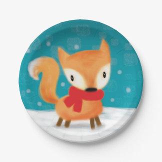 ♥ PAPER PLATE ♥ cute christmas fox in snow teal