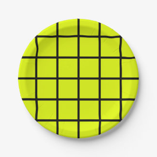 """Paper plate - Design :  """"Grid"""" on green."""