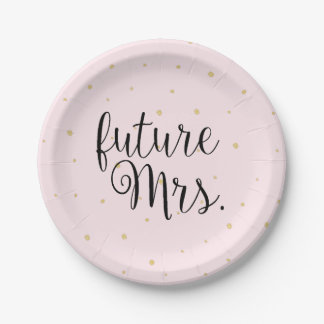 Paper Plate - Gold Dots future Mrs. Pink