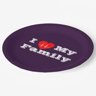 Paper plate I love my Family Custom heart 9 Inch Paper Plate