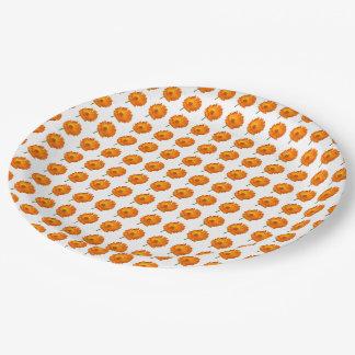 Paper Plate - Orange Calendula in Rows