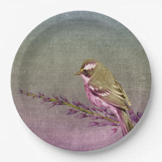 Paper plate   purple pretty song bird