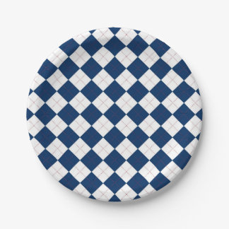 Paper plate with a blue and white argyle pattern.