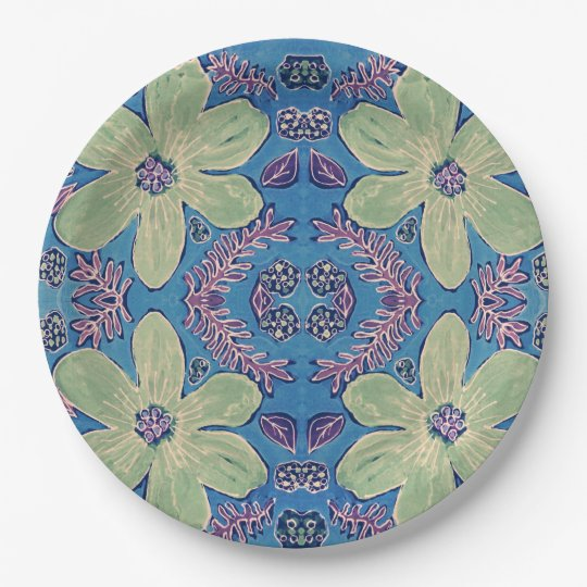 Paper plate with green flowers on blue background 9 inch paper plate