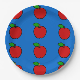 Paper Plate with Red Apples on Blue