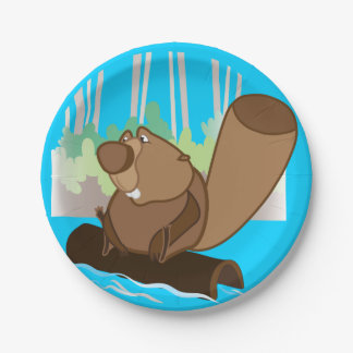 Paper Plates 7 in with beaver