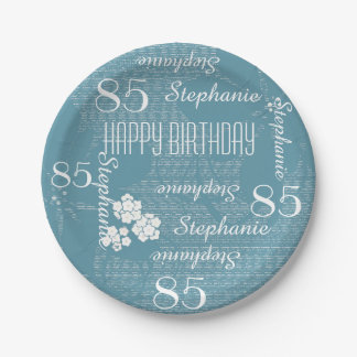 Paper Plates, 85th Birthday Party Blue Floral Paper Plate
