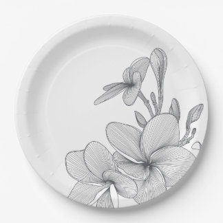 Paper Plates 9 in -Plumeria Flowers 9 Inch Paper Plate