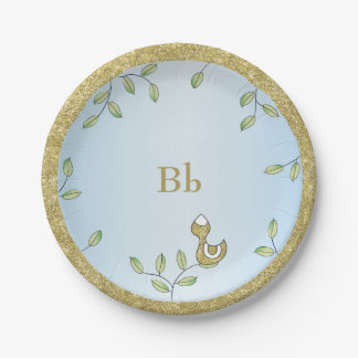 """Paper Plates Blue """"Gold Birds"""" 7 Inch Paper Plate"""