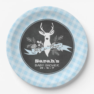 Paper Plates - Blue Woodland Baby Shower 9 Inch Paper Plate