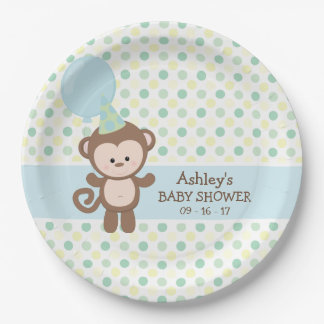 Paper Plates - Boy Monkey Baby Shower 9 Inch Paper Plate