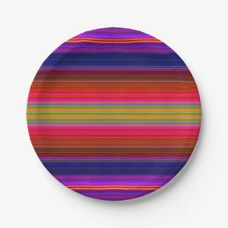 Paper Plates Bright Neon Fiesta Stripes Pattern