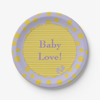"""Paper Plates """"Gold Glittery Baby Feet"""" 7 Inch Paper Plate"""