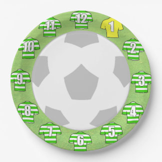 Paper Plates - Green & White Hooped Sport Shirts