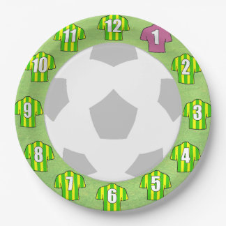 Paper Plates - Green & Yellow Striped Sport Shirts