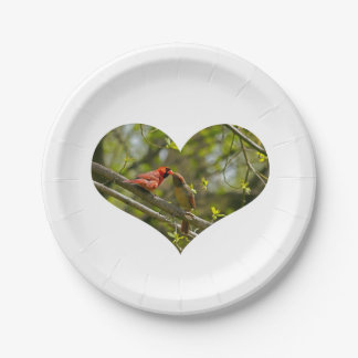Paper Plates, Kissing Cardinals. 7 Inch Paper Plate
