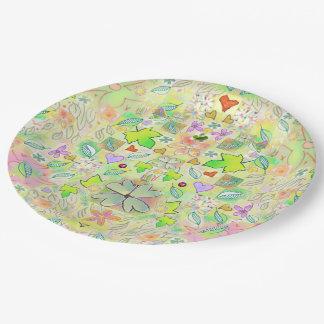 Paper Plates - Leaf Flower Heart Design 9 Inch Paper Plate
