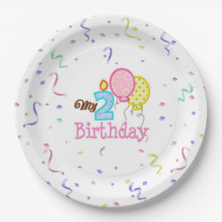 Paper Plates/My Second Birthday with Confetti 9 Inch Paper Plate