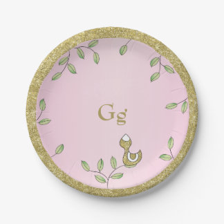 """Paper Plates Pink """"Gold Birds"""" 7 Inch Paper Plate"""