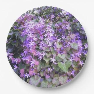 Paper Plates - Purple Hedge Flower Design 9 Inch Paper Plate