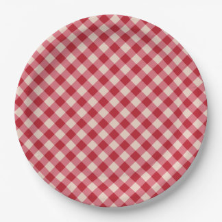 Paper Plates - Red Gingham Pattern 9 Inch Paper Plate
