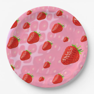 Paper plates strawberries. 9 inch paper plate