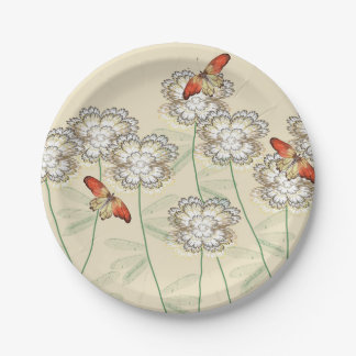 Paper Plates with Digital Floral Design 7 Inch Paper Plate