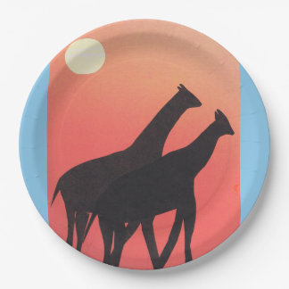 Paper Plates with Giraffe Design
