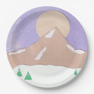 Paper Plates with Mountain Scene 9 Inch Paper Plate