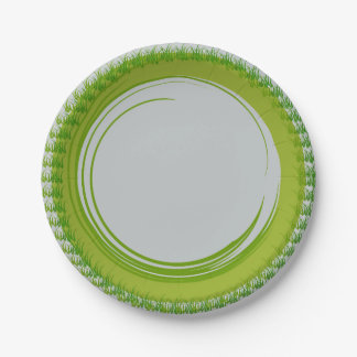 Paper Plates with Natural Green Border