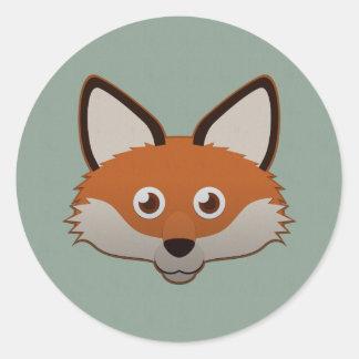 Paper Red Fox Classic Round Sticker