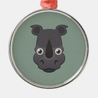 Paper Rhino Silver-Colored Round Ornament