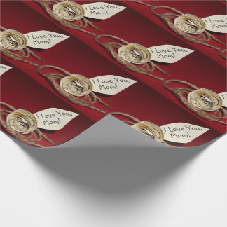 Paper Rose on Red, I Love You Mom! Personalizable