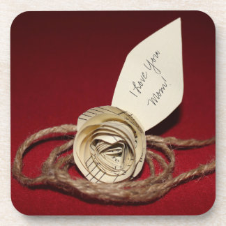 Paper Rose on Red, I Love You Mom! Personalizable Coaster