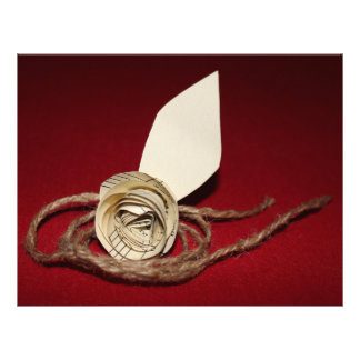 Paper Rose with Twine on Red Background Letterhead