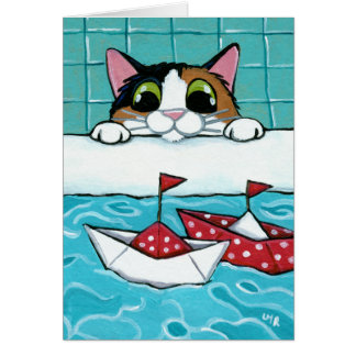 Paper Sail Boats - Calico Cat Art Card
