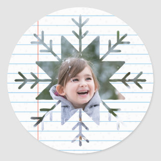 Paper Snowflakes Photo Round Sticker