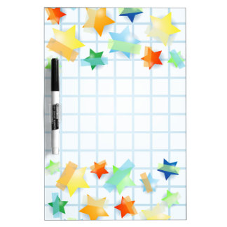Paper stars, board dry erase whiteboards