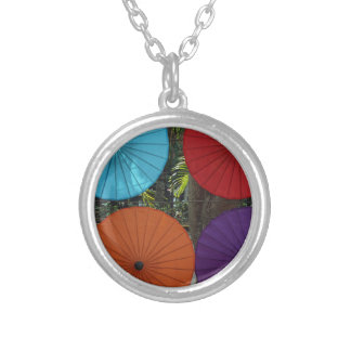 paper umblella silver plated necklace