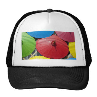 paper umblella trucker hat