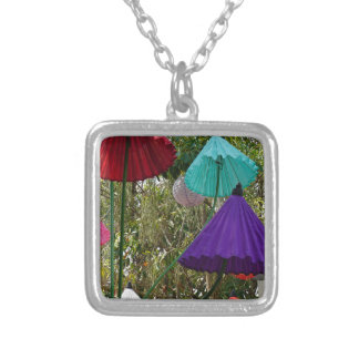 paper umbrella silver plated necklace