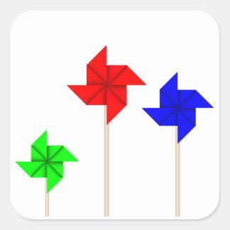 Paper Windmill Square Sticker