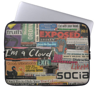 Paper word phrase collage from magazine clippings laptop sleeve