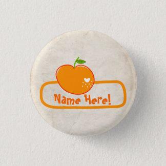 PaperFruit Orange Name Badge 1 Inch Round Button