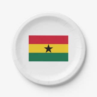 Papers placard (s) Ghanese flag. Paper Plate