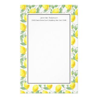 Papeterie Citrons jaunes avec le motif vert de feuille
